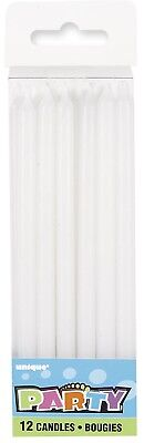 12x Tall White Candle Wedding Birthday Baby Shower Party Cake Topper Decoration