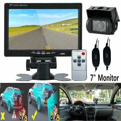 "7"" LCD TFT Monitor Wireless IR Backup Camera for RV Truck Rear View Night Vision"