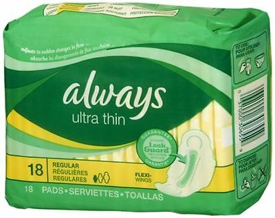 Always ultra thin maxi pads, regular with flexi-wings - 18 ea, 12 pack