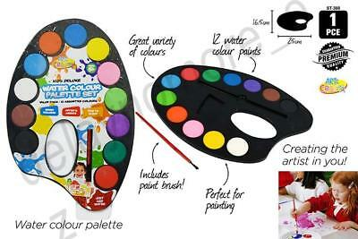 Paint Palette w/ brush and 12 Water Colours Kids Deluxe Set Painting Party
