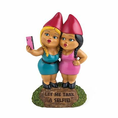 Gnome Selfie Sisters Statue Novelty Outdoor Girls Gnomes Funny