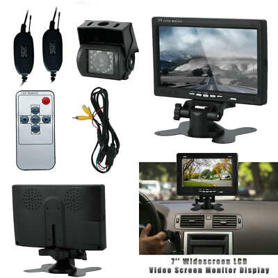 "7"" TFT LCD Car Rear View Backup Monitor+Wireless Parking Night Vision Camera US"