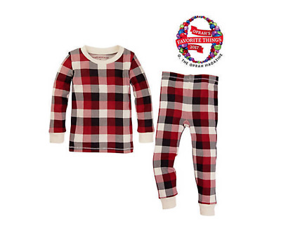 Burt's Bees Buffalo Plaid Organic Cotton 2 Piece Pajama Set Infant 12 Month NWT