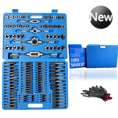 110 Pcs Tungsten Wrench TAP and Die Set Cutter Kit Metric Steel Screw Bolt Case