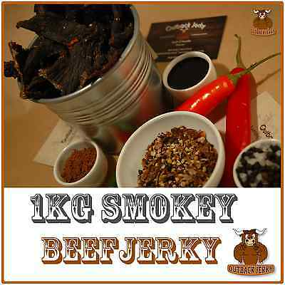 BEEF JERKY SMOKEY 1KG Hi PROTEIN LOW CARBOHYDRATE PRESERVATIVE FREE SNACK