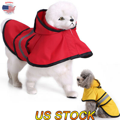 Pet Dog Puppy Cat Raincoat Waterproof Hooded Rainwear With Reflective Stripe Hot