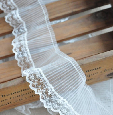2yds White Organza Ruffle Lace Pleated Wavy Edging Trims 2.75 inches Width Craft