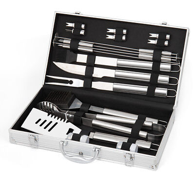 BBQ Grill Set Tools 18 pcs Accessories -Stainless Steel Utensils  Grilling Kit