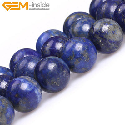 Natural Lapis Lazuli Gemstone Semi Precious Round Beads For Jewellery Making 15""