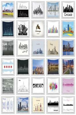 Chicago Skyline Tapestry Wall Hanging Decoration for Room 2 Sizes Available