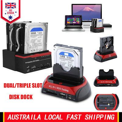 "2.5"" 3.5"" SATA IDE HDD USB 2/3Bay Dock Docking Station ESATA OTB HUB Card Reader"