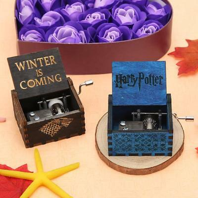Harry Potter Carved Wood Hand Crank Music Box Case Birthday Gifts Ornament Decor