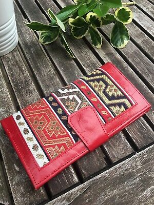 Ladies Genuine Real Leather Purse Wallet Red Bifold