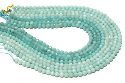 Faceted Round Natural Semiprecious Amazonite Gemstone Loose Beads Jewelry Making