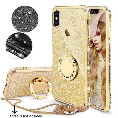 For iPhone XR Xs Max 7 8 Plus Ultra Thin Ring Stand TPU Bling Sparkle Case Cover