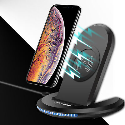 For iPhone XS Max XR X 8 Plus Qi Wireless Charger Charging Stand Holder Dock Pad