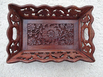 Vintage Small  Wooden Carved Tray