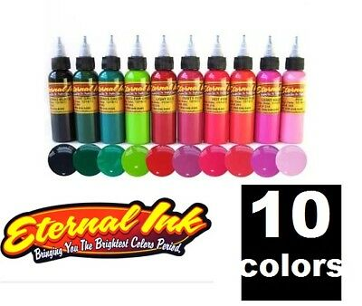 ETERNAL Tattoo Inks FLORAL Set of 10 Bottles Bright Nature Colors 1/2 oz 15ml US