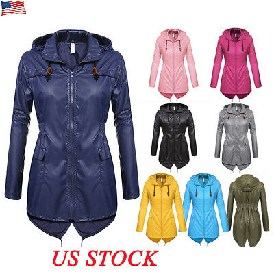 US Womens Winter Raincoat Hooded Ladies Waterproof Jacket Parka Fishtail Hoodies