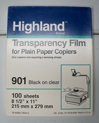 Highland Transparency Film for Copiers 901 Clear 100 Sheets 8.5x11 NEW Open Box