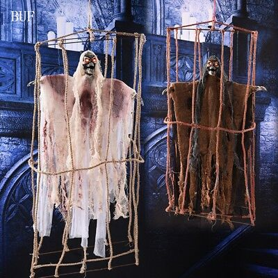 Cage Ghost Hanging Halloween Horror Scary Creative Party Decoration Props 35inch