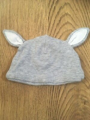 Mothercare Grey Bunny Ears Unisex Baby Hat. Tiny Baby 5lb Premature Baby