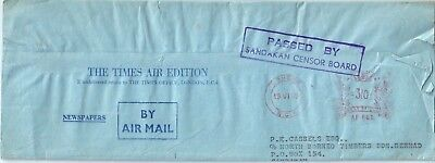 North Borneo Complete Times Paper Wrapper 1969 'Passed by Sandakan Censor'