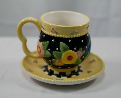 Pre-Owned ● Mary Engelbreit Tea Cup & Saucer FLOWERS & POLKA DOTS (2001)