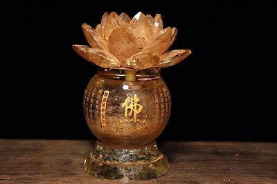 China Antique Buddhist crystal gilt carved scripture lotus relic pot