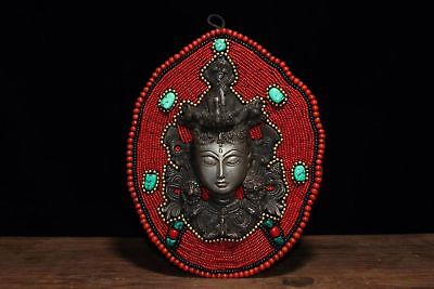 China Antique Tibetan Buddhism hand-stitched system mother mosaic gem mask