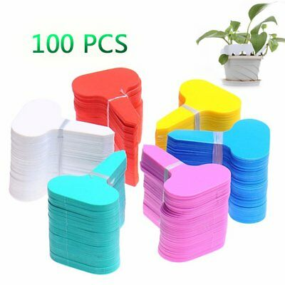 100Pcs Plastic T-type Garden Tags Plant Flower Label Nursery Thick Tag Markers B