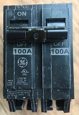 Ge Thql21100 Circuit Breaker 2 Pole  100 Amp 240 Vac New