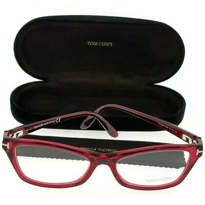 0d300ab78224 Tom Ford FT5265-068 Cat Eyes Women s Red Frame Clear Lens Genuine Eyeglasses  NWT