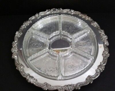 Vinrage Silverplate Platter  Footed With Glass Relish Compartment Dishes 16.5""