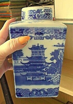 Vintage Tea Caddy by Ringtons Willow Pattern - blue and white 19cm