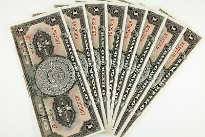 Lot of 8 1954 Mexico 1 Peso Notes (Sequentially Numbered) UNC Condition P #56b