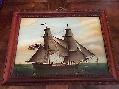 Sale 20 Off Vintage Reverse Glass Painting American Ship With