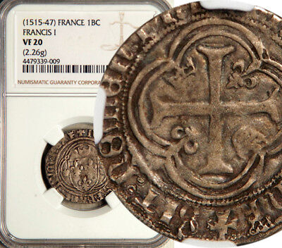 Ngc Vf-20 France Silver Blanc Couronne 1515-47 (Francis-I)