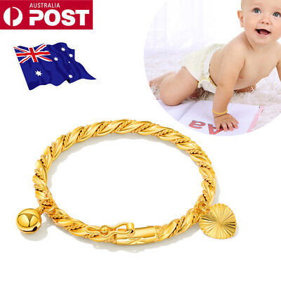 Plated Baby Children Jewelry Bracelet Bell Heart Bangle Hand Chains 18K Gold UE