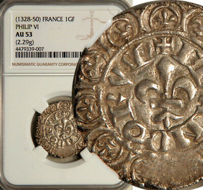 Ngc Au-53 France Silver Gros Fleur 1328-50 (Philip-Vi) The Only Graded?
