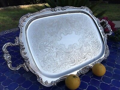 "Large Antique Gorham Heritage 25.5"" Silver Plated Tea Butler Serving Tray YH318"