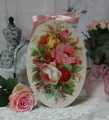 "~ Shabby Chic Vintage Country Cottage style Wall Decor. Sign ""Garden Roses"" ~"