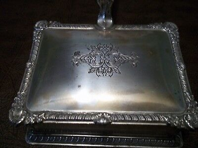 """Silver plated Ash Tray 7 1/2"""" L x 4 1/4""""W x 1""""D Wood handle, Silent Butler"""