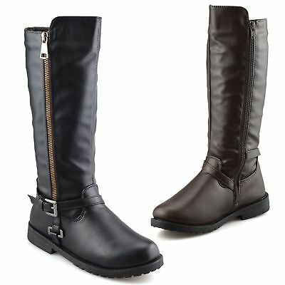 Girls Kids Childrens Zip Up School Winter Casual Biker Mid Calf Boots Shoes Size
