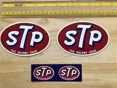 Vintage STP The Racers Edge Oil - Lot of 2 Oval Sticker/Decal + small STP Decal