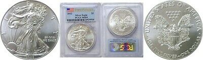 2012 $1 American Silver Eagle PCGS MS 69 First Strike Flag Label