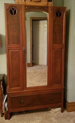 Antique Armoire, Wardrobe or Closet W Mirrored Door & Drawer 72 x 39 x 17.5 Inch