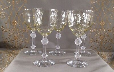 YELLOW OPTIC GLASS Stemware CORDIAL CLEAR STEM Depression Glass LOT OF 5
