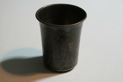 Nice Old Antique Silver 84 Carved Imperial Russia Russian Vodka Cup Vintage