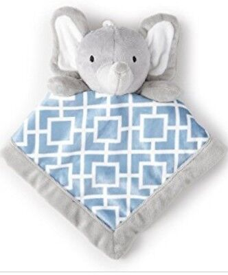 New Levtex Baby Adorable Elephant Security Blanket Blue Gray 12 x 12 1-24 Mos